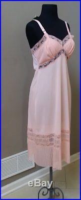 NWT vtg 40's 50's Corsage fancy bombshell nylon pink full slip dress