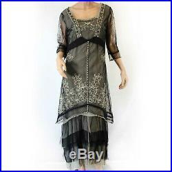 Nataya Plus Size Vintage Ivory Party Gown Black Dress Slip Set 1X