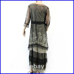 Nataya Plus Size Vintage Titanic Tea Party Gown Black Dress Slip Set 1X