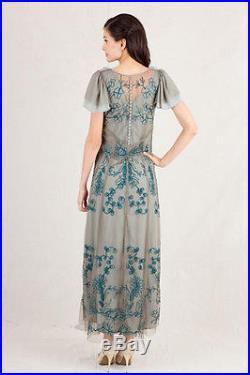 Nataya Teal Embroidered Slip Dress Vintage Romantic Large XL Blue Green Moss