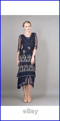 Nataya Vintage Titanic Gown Sapphire Blue Tulle Dress & Slip Set 10/12