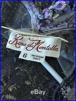 Neiman Marcus Rina diMontella Vtg Purple Sequin Mesh Long Dress w Slip Size 6
