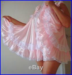 Neljen Vintage Tricot Baby Doll Slip Dress lots of Sissy PINK Ruffles M-2XL