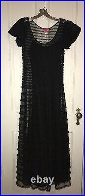 New BETSEY JOHNSON Rare Vintage Runway Lace Ruffle Maxi Black Dress 4 $418