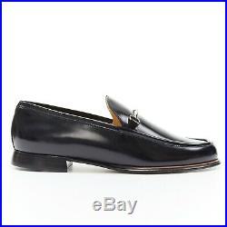 New GUCCI Vintage black leather silver minimal horsebit slip on loafer EU36.5C