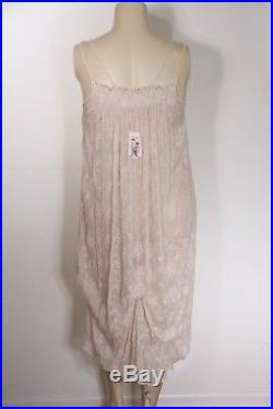 New Magnolia Pearl Silk Vintage Floral Lace Slip Dress In Blush