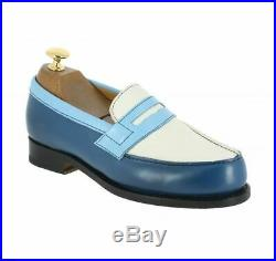 New Men's Penny Loafer Slip Ons Two Tone Blue White Cont Vintage Leather Shoes