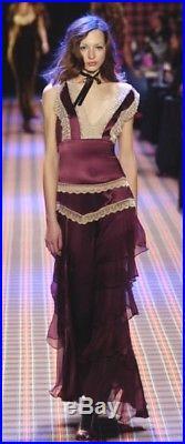 New Rare Vintage Betsey Johnson LONG SILK Lace Teal RUNWAY Maxi Slip DRESS 10 M
