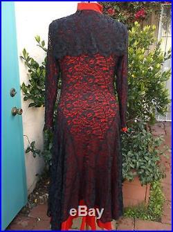 Norma Kamali VTG black lace dress M L wear it over a catsuit leggings or a slip