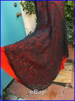 Norma Kamali VTG black lace dress M L wear over bodysuit or slip red NOT incldd