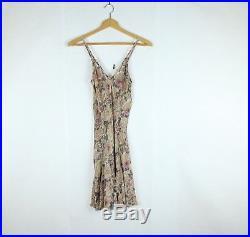 OMO Norma Kamali Vintage 90s 100% silk Slip Dress Pink Floral 2 XS Babydoll
