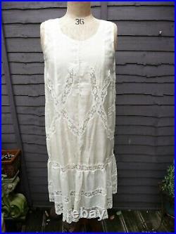 ORIGINAL 1920s BRIDAL Ivory Silk FLAPPER Dress Slip with Panties LINGERIE, UK 8/10