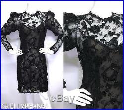 OSCAR DE LA RENTA Black Lace Illusion SEQUIN Dress & SLIP VTG 8 FITS 4 6 AMAZING