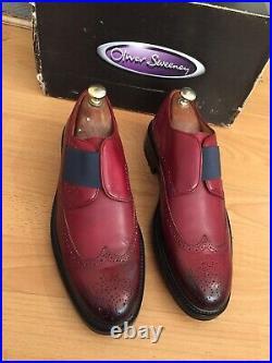 Oliver Sweeney Bientina Deep Red Antiqued Leather Slip On Brogue Shoe, RRP£300