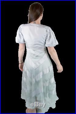 Original VTG 1930s 30s Art Deco Glam Sheer Slip Blue Gown Evening Dress sz 4 5 S