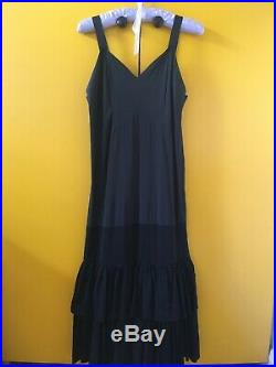 Original Vintage 1930s Black Taffeta Slip Dress with Tiered Hem XS