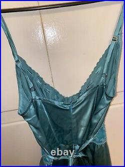 Original Vintage 90s Betsey Johnson Satin Midi Mint Green Slip Dress With Tags 6