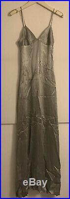 Original Vintage Amazing 1970s Biba Silver Slip Strap Long Dress XS UK6