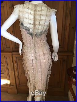 Oscar de la Renta Sheer Embellished Vintage Tiered Ruffle Evening Dress w Slip