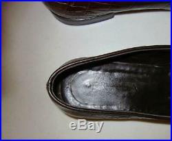 PRADA Brown Vintage Crocodile Alligator Embossed Slip On Loafers Italy Sz 8.5