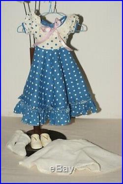 PRETTY! Vintage Arranbee Blue Polka Dot Square Dance Dress, Slip Shoes, Socks Fo