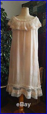 Pale Pink 1910s Pure Silk Lace Ribbon Chemise Slip Dress Vintage Antique
