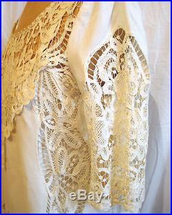 Pale yellow cotton drop waist dress & slip from vintage battenburg lace