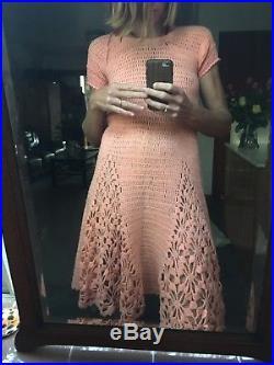 Peach Crochet Knit Vintage 60s Dress 8-10 Slip STUNNING As New