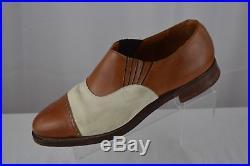 Polo Ralph Lauren bench made vintage brown white cap toe mens slip on dress shoe