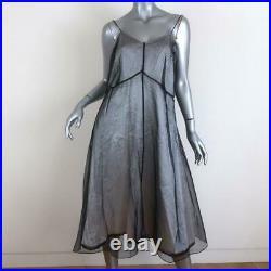 Quetsche Sheer Overlay Slip Dress Black/White Size 40 Sleeveless Midi