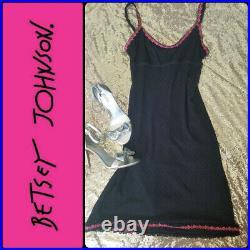 RARE! Betsey Johnson black and pink slip dress vintage 90's