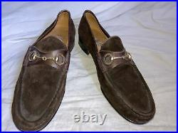 RARE GUCCI Horsebit Slip On Loafers Sz 11 Vintage Made in Italy Brown Suede