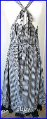 RARE Krista Larson Black & White Checked/Plaid Cotton Amish Slip Vintage Style