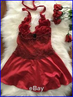 RARE OLD Marilyn Edition Red Chemise Dress Honey Birdette $4 EXPRESS Vintage Hot