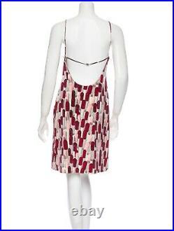 RARE PRADA Vintage 2000 Collectible Lipstick Print Open Back Slip Dress Sz 6/8
