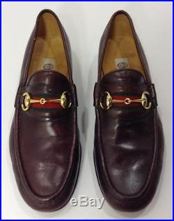43fa0207d29 RARE Vintage GUCCI Italy Horsebit Burgundy Mens Slip On Dress Loafers Shoes  42 9