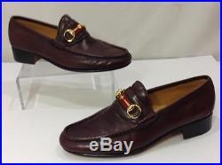 c56e6801363 RARE Vintage GUCCI Italy Horsebit Burgundy Mens Slip On Dress Loafers Shoes  42 9