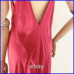 RARE Vintage VICTORIA'S SECRET Silk Slip Dress Bias Cut Red Maxi Gown Nightgown
