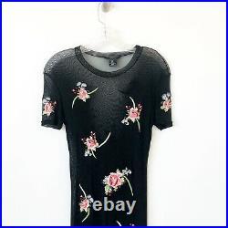 RARE Vintage Vivienne Tam Mesh Maxi Dress 90's Sz 2/ M Floral Embroidered Black
