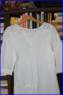 RARE Vintage White Sheer Cotton Lace Dress Antique Victorian Full Sweep Medium