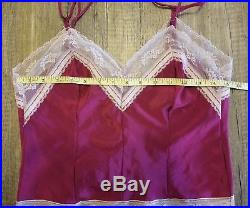 RARE Vintage Yves Saint Laurent YSL Lingerie Slip Dress Red Nightgown Size Small