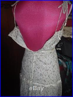 RARE Vtg 1960s Hippy Floral NWT Gunne Styl Maxi Slip Wedding Party Dress S