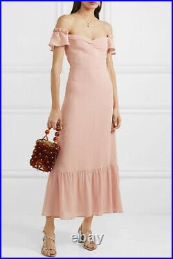 REFORMATION Blush Pink Off Shoulder Butterfly Crepe Midi Maxi Vintage Dress 6 M