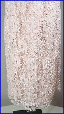 RICKIE FREEMAN Teri Jon Dress Beaded Lace Sheath Size 12 Pink VTG SLIP CHEMISE