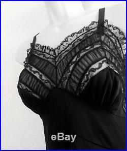 Rare ARTEMIS Vintage 50s Full Dress SLIP 8 Pleated CHIFFON Lace BLACK Nylon M