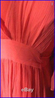 Rare Betsey Johnson Vintage Maxi Silk Coral Long Kimono Sleeve Slip Dress 6 8 M