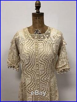 Rare Find! Vintage Victorian Ecru Cotton Eyelet Lace Dress & Slip, Beautiful