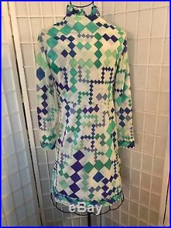 Rare Vintage 1960 Emilio Pucci Slip Dress & Coat 2PC Set Sz S