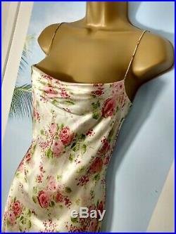 Rare Vintage 90s Designer Collette Dinnigan Silk Satin Rose Strappy Slip dress S
