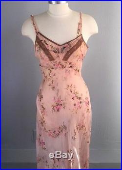 Rare Vintage Betsey Johnson Floral Silk Lace Crepe Pink Party Slip Dress XS